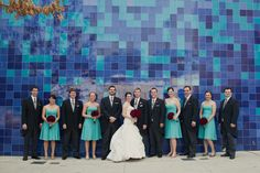 Our Tiffany blue and red wedding party