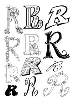 Letter R Hand Lettering Fonts, Doodle Lettering, Creative Lettering, Lettering Styles, Handwriting Fonts, Brush Lettering, Lettering Design, Fancy Letters, Letters And Numbers