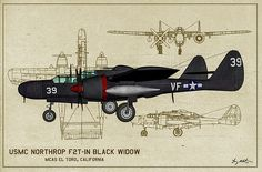 Usmc Digital Art - Black Widow Marine - Profile Art by Tommy Anderson