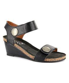 Black Hobby Wedge Sandal