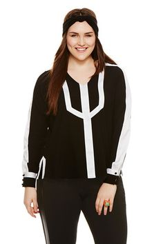Plus Size Colorblock Blouse in Black | MYNT 1792