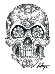 Sugar Skull Sketch 5 Pack of Stickers – skull tattoo sleeve Skull Candy Tattoo, Mexican Skull Tattoos, Candy Skulls, Mexican Skulls, Tattoo Crane, Chicanas Tattoo, Tattoo Drawings, Dragonfly Tattoo, Caveira Mexicana Tattoo