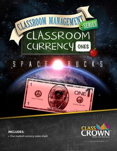 Classroom Currency: Ones–Download this fun space themed classroom currency for FREE over at TpT!