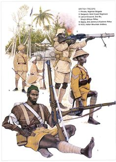 British Troops in East Africa, 1914-18:  1: Private, Nigerian Brigade;  2: Sergeant, Gold Coast Regiment;  3: Lance-Corporal, 2nd Bn, King's African Rifles;  4: Sepoy, 2nd Jammu & Kashmir Rifles;  5: KCO, Indian Mountain Artillery