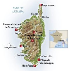 La isla de Córcega, de norte a sur