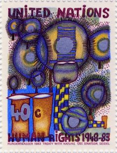 Hundertwasser Stamp Resource: The Second Skin, The Right to Dream, Window Right… Friedensreich Hundertwasser, Going Postal, Small Art, Stamp Collecting, Art And Architecture, Postage Stamps, Great Artists, Art History, Abstract Art