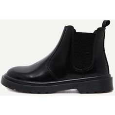 Black Faux Leather Round Toe Elastic Ankle Boots (850 EGP) ❤ liked on Polyvore featuring shoes, boots, ankle booties, lined winter boots, black winter boots, black booties, vegan winter boots and black boots