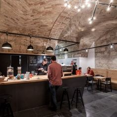 Budapest cafe with vaulted brick ceilings  by Spora Architects #Espresso Embassy #BudapestCafè #Coolbar