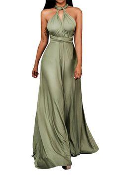 Barbella Women's Convertible Wrap Dress Multi Way Infinity Long Bridesmaid Dresses, Green, Tag L=UK 10-12
