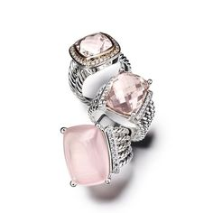 5d3c0a97bbf5 Gorgeous pink   silver David Yurman rings Love the blush color!