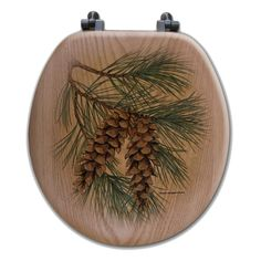 Wgi-Gallery Pine Cone Elongated Closed Front Wood Toilet Seat in Oak Brown Rustic Toilet Seats, Wood Toilet Seat, Rustic Toilets, Black Forest Decor, Resin Furniture, Mountain Decor, Brass Hinges, Toilet Storage, Stainless Steel Screws