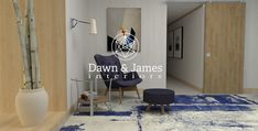#edesign #interiordesign #sittingarea #homedecorideas #homedecor #bluechair #bluerug