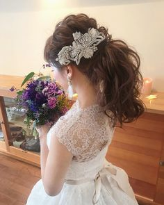 Wedding simple hairstyles 36 ideas for 2019 Evening Hairstyles, Dress Hairstyles, Bride Hairstyles, Easy Hairstyles, Short Wedding Hair, Wedding Hairstyles For Long Hair, Wedding Updo, Wedding Simple, Vintage Bridesmaid Dresses