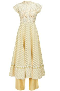 Beige thread embroidered kurta with palazzos available only at Pernia's Pop-Up Shop.