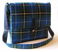Blue Tartan Messenger Bag