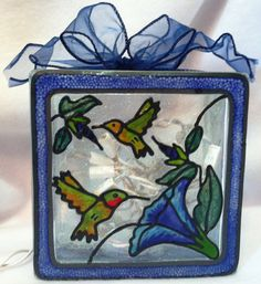 Hummingbird Lighted Glass Block done in by CreativeGlassByBecky, $29.95