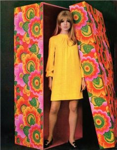 1968 ~ yellow dress and fantistically-printed box in bright green, orange, pink, & yellow