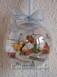 Christmas Ornament with Winter Scene Using Paper Napkin Applique