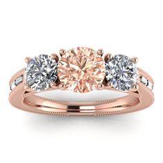 #14k #Rose #Gold #Capri #3 #Stone #Morganite #And #Diamond #Baguette | Etsy #14k #morganite #ring #18k #morganite #ring #rose #gold #engagement #wedding #ring #engagement #ring #rose #gold #morganite #morganite #ring #morganite #engagement #leaves #engraving #baguette #accents #milgrain #bezel #accents #3 #stone #ring Baguette Engagement Ring, Baguette Ring, Baguette Diamond Rings, Three Stone Engagement Rings, Morganite Ring, Morganite Engagement, Pink Tourmaline, Wedding Ring Bands, Diamond Shapes