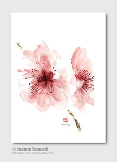 Cherry blossom wall decor unique floral clipart pink flower abstract art print of watercolor painting pink summer clip art wall decal 11x14 #cuadrosmodernos #buyart                                                                                                                                                                                 Más