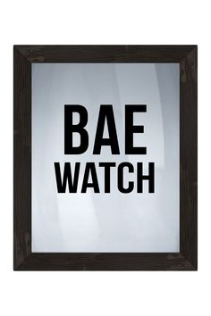 "Bae Watch Framed Silkscreen Glass Wall Art - 21"" x 17"""