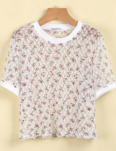 White Short Sleeve Floral Lace T-Shirt US$15.00