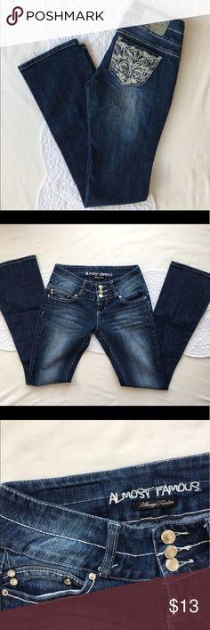 "Selling this Almost Famous ""Always Fabulous"" Jeans, SZ 3 on Poshmark! My username is: elegantcouture. #shopmycloset #poshmark #fashion #shopping #style #forsale #Almost Famous #Denim"