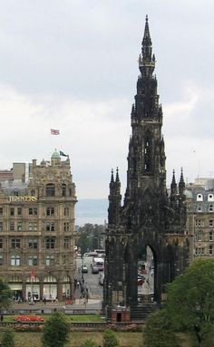 Scott Monument - Edinburgh - Scotland.  Gothic spire Scott Monument, was built in 1846 to commemorate the life of Sir Walter Scott. The monument is opened for public and you can climb the 200 ft to gain a perfect view over the city.    ..z