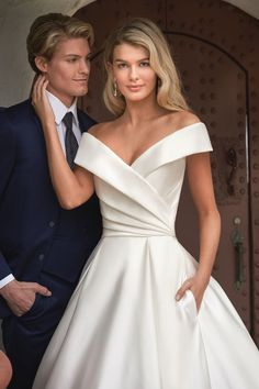 Beautiful Italian Satin Ball Gown with off the shoulder Portrait Neckline Affordable Wedding Dresses, Bridal Wedding Dresses, Princess Wedding Dresses, Jasmine Bridal, Gowns Of Elegance, Bridal Collection, Couture Collection, Elegant Wedding, Ball Gowns