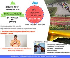 Intiamatkat's innovative tour - Bicycle through Scenic Tulips!! Get attractive discounts on bookings till 23rd Feb.