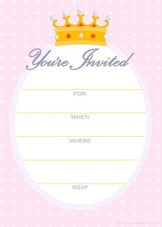 Free Invitations for a Princess Birthday Party
