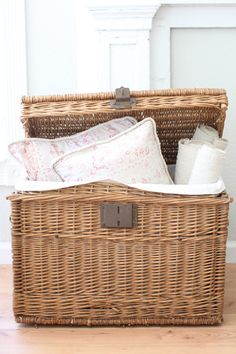 vintage French trunk - liner is antique French linen, picnic basket