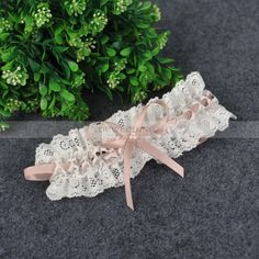 Beige Lace Wedding Garter with Colored Ribbon