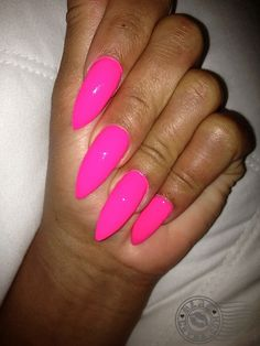 Love this hot pink stiletto nail!