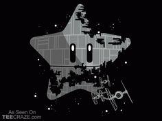 Super Death Star T-Shirt - http://teecraze.com/super-death-star-t-shirt/ - Designed by Itoko Design #tshirt #art #fashion #starwars #mariobros
