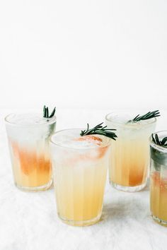 Cheers: Rosemary, Honey, and Grapefruit Spritzer! Easy Cocktails, Summer Cocktails, Cocktail Recipes, Cocktail Drinks, Cocktail Desserts, Bourbon Drinks, Disaronno Cocktails, Drink Recipes, Lemonade Cocktail