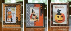 """3 Halloween cards by Vicki Chrisman using Crafty Secrets """"Creating with Vintage Halloween"""" CD.  Also see other samples made with the CD"""