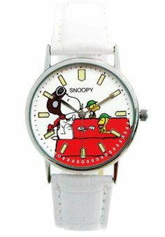 Pilot Snoopy Watch w/ White Leather Band by Peanuts. $49.50
