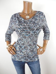 dd381301634 ANN TAYLOR Womens Top M Casual Shirt Stretch Draped Blue Black Wht Print 3