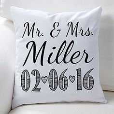 Our Wedding Date Personalized Throw Pillow