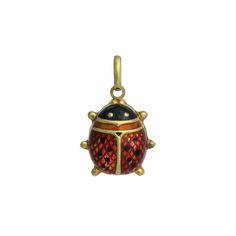 Large 14K Gold Enamel Lady Bug Charm / Pendant, c. 1990s. $165