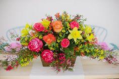 rainbow flower centerpiece