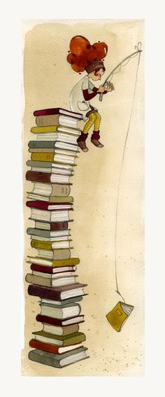 Cute illustration f girl on top of books. WI wonder who the artist is. I Love Books, My Books, Foto Gif, Reading Art, World Of Books, Book Nooks, Library Books, Book Illustration, Book Lovers