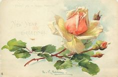 Peach colored rose by Catherine Klein, Catherine Klein, Art Floral, Vintage Rosen, Art Vintage, Vintage Yellow, Vintage Images, Rose Oil Painting, China Painting, Rose Art