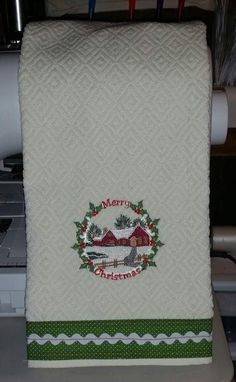 Embroidered  Christmas towel with fabric border