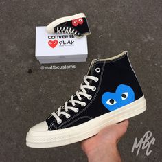 Black High Converse x Comme Des Garçons with Red/Blue CDG heart. - Hand Painted - Paint is Crack & Water Resistant - Shipped Class Made to order, Please allow up to 20 days to be completed and posted. Converse Noir, Cdg Converse, Custom Converse, Outfits With Converse, Blue Converse Outfit, White Converse, Converse Chuck, Cool Converse High Tops, Custom Painted Shoes