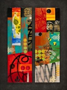 mixed media on wood Janet O'Neal I LOVE this!  The colors are amazing.