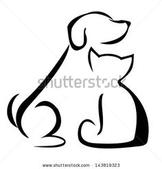 Vector Illustration Of Black Silhouette Of A Sitting Dog And Cat ...