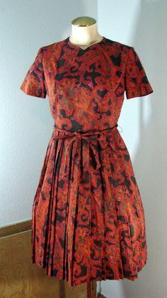 Vintage 50s L'Aiglon Orange & Brown Floral by TheScarletMonkey