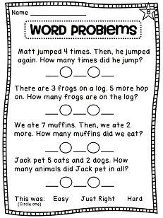 Writing addition number sentences for word problems - differentiated practice! math worksheets first grade, First Grade Math Worksheets, 1st Grade Math, Grade 1, Second Grade, Addition Words, Math Addition, Kindergarten Addition, Addition Activities, Addition Worksheets